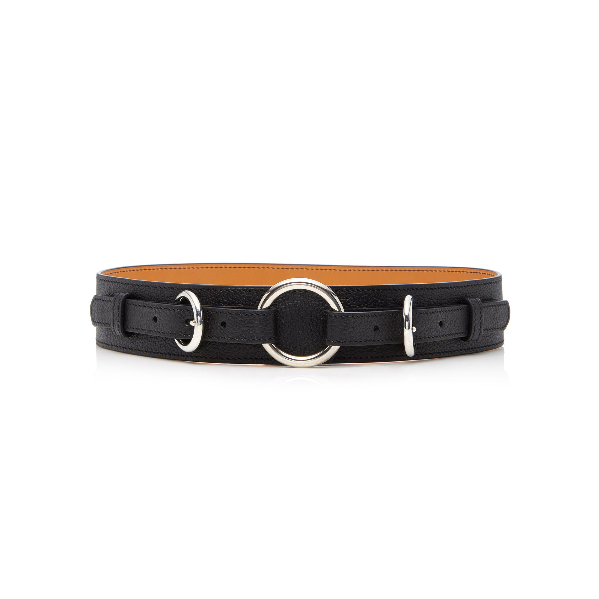 M'O Exclusive Equestrian Ring Textured-Leather Belt