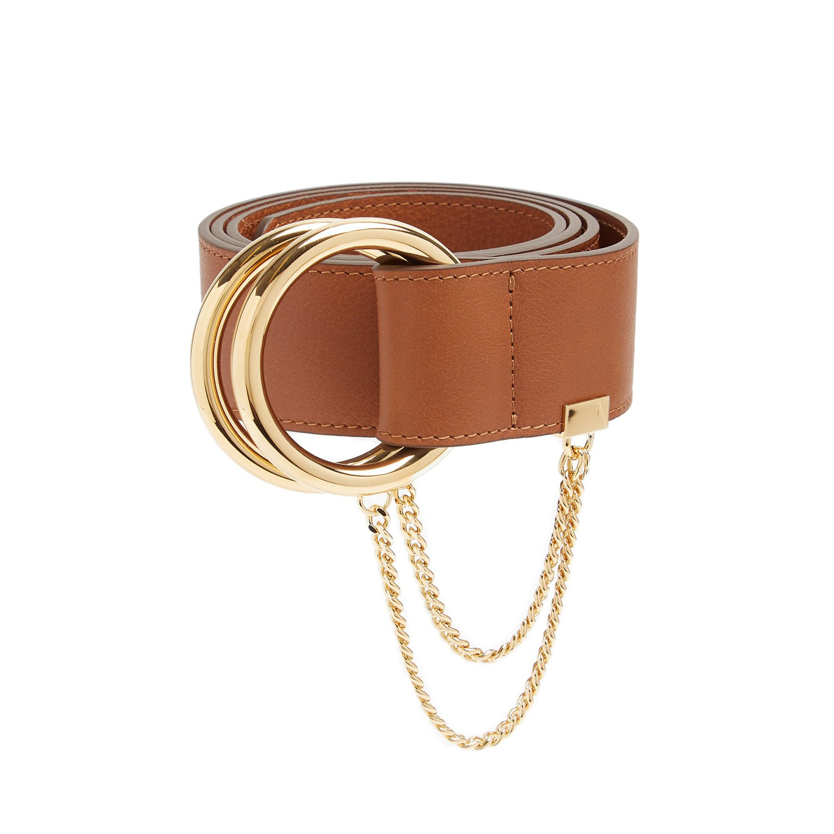 Gold-hoop leather belt