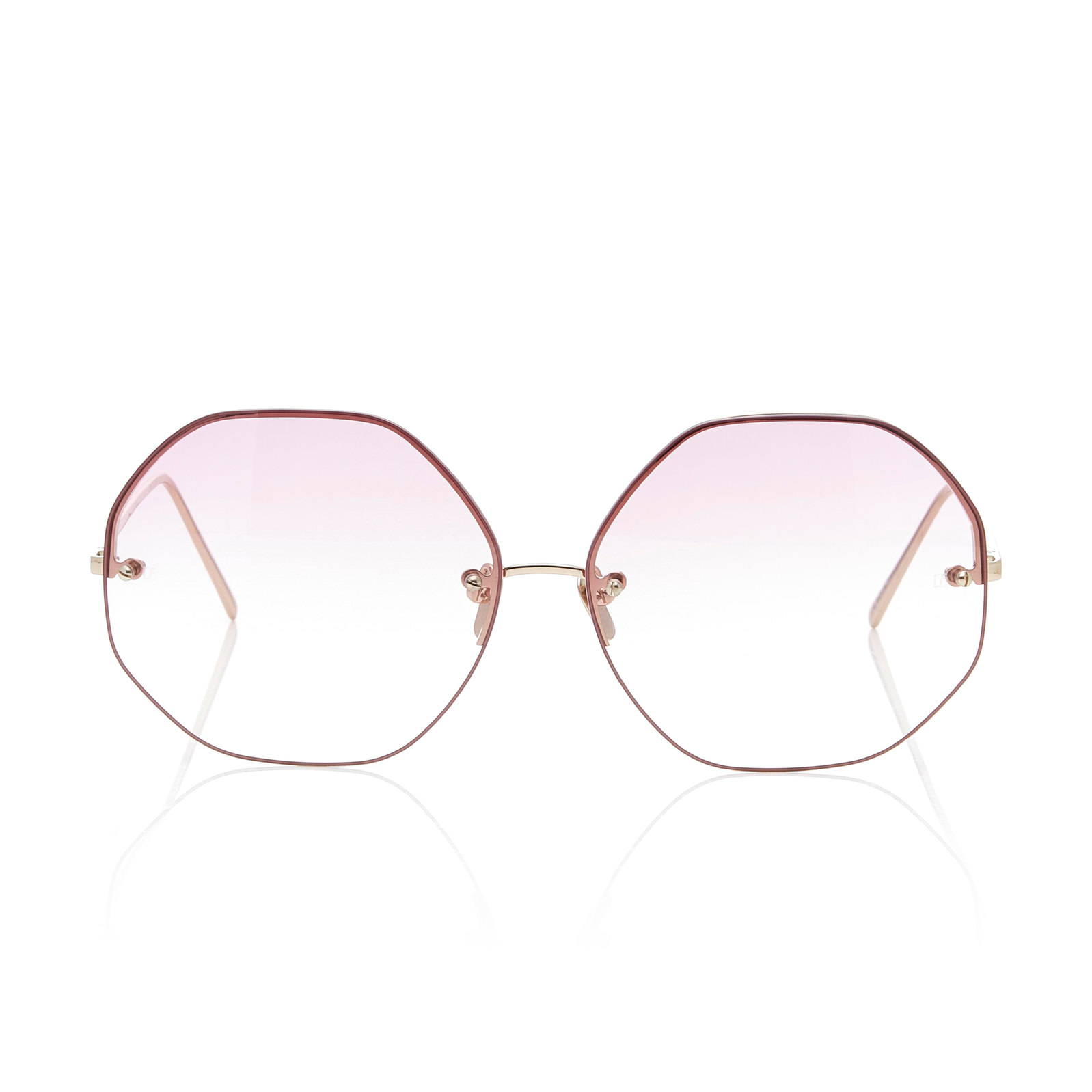 Oversized Polygon Round-Frame Sunglasses