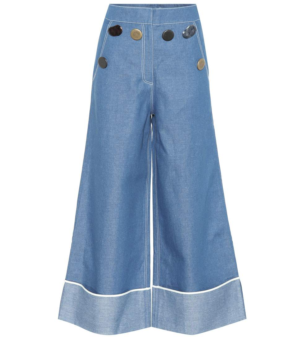 Bailey wide-leg chambray jeans