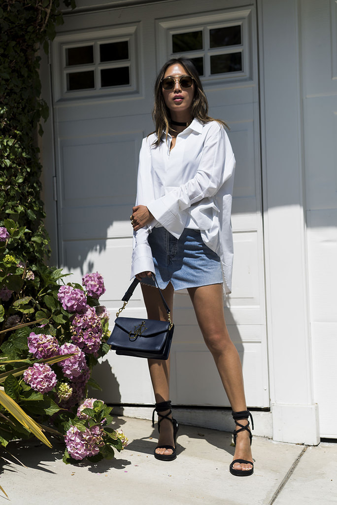 aimee_song_of_style_white_blouse_vetements_denim_skirt_JW_Anderson_bag